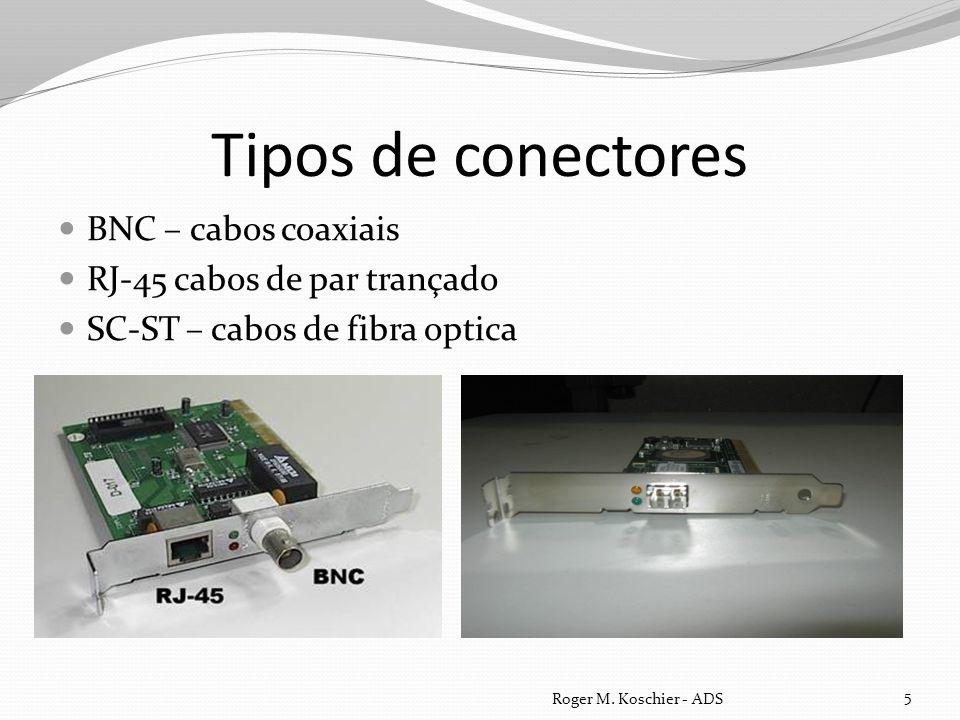 Tipos de conectores BNC – cabos coaxiais RJ-45 cabos de par trançado SC-ST – cabos de fibra optica Roger M. Koschier - ADS 5