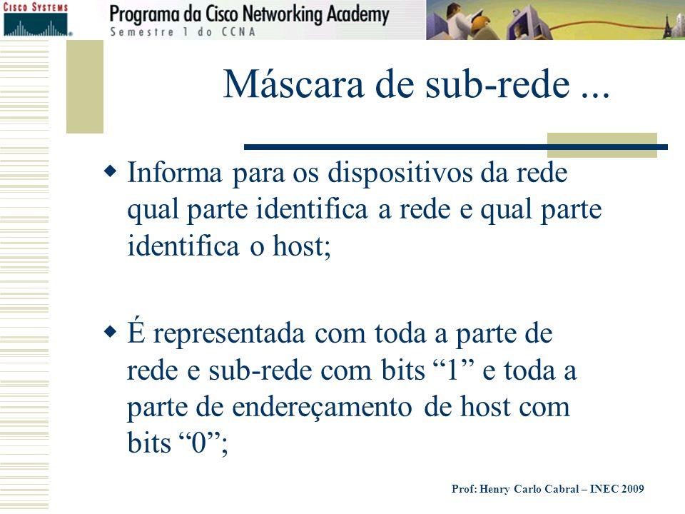 Prof: Henry Carlo Cabral – INEC 2009 Máscara de sub-rede... Informa para os dispositivos da rede qual parte identifica a rede e qual parte identifica