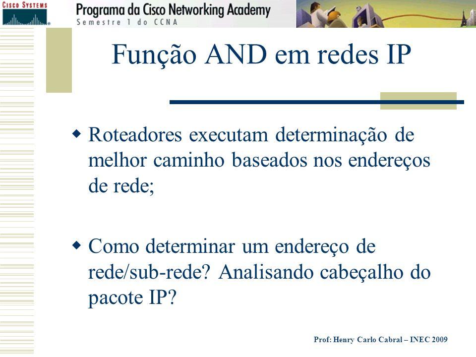 Prof: Henry Carlo Cabral – INEC 2009 Função AND em redes IP Roteadores executam determinação de melhor caminho baseados nos endereços de rede; Como de