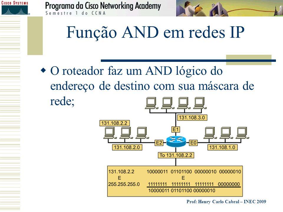 Prof: Henry Carlo Cabral – INEC 2009 Função AND em redes IP O roteador faz um AND lógico do endereço de destino com sua máscara de rede;
