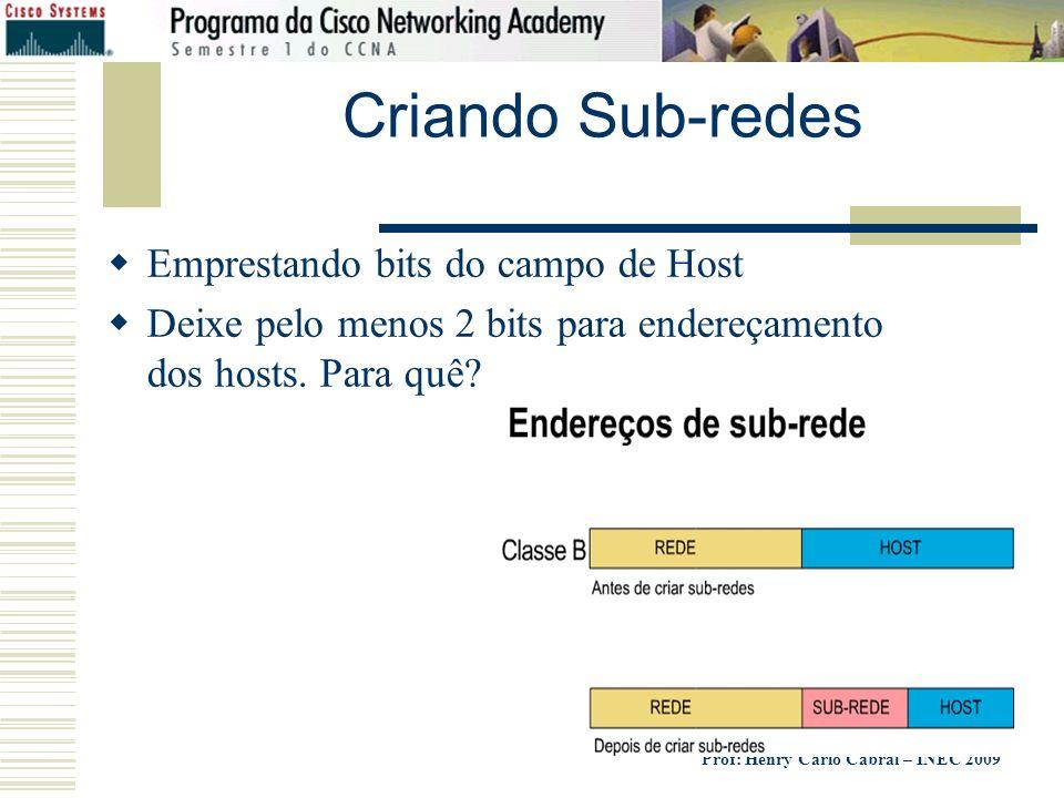 Prof: Henry Carlo Cabral – INEC 2009 Criando Sub-redes Emprestando bits do campo de Host Deixe pelo menos 2 bits para endereçamento dos hosts. Para qu