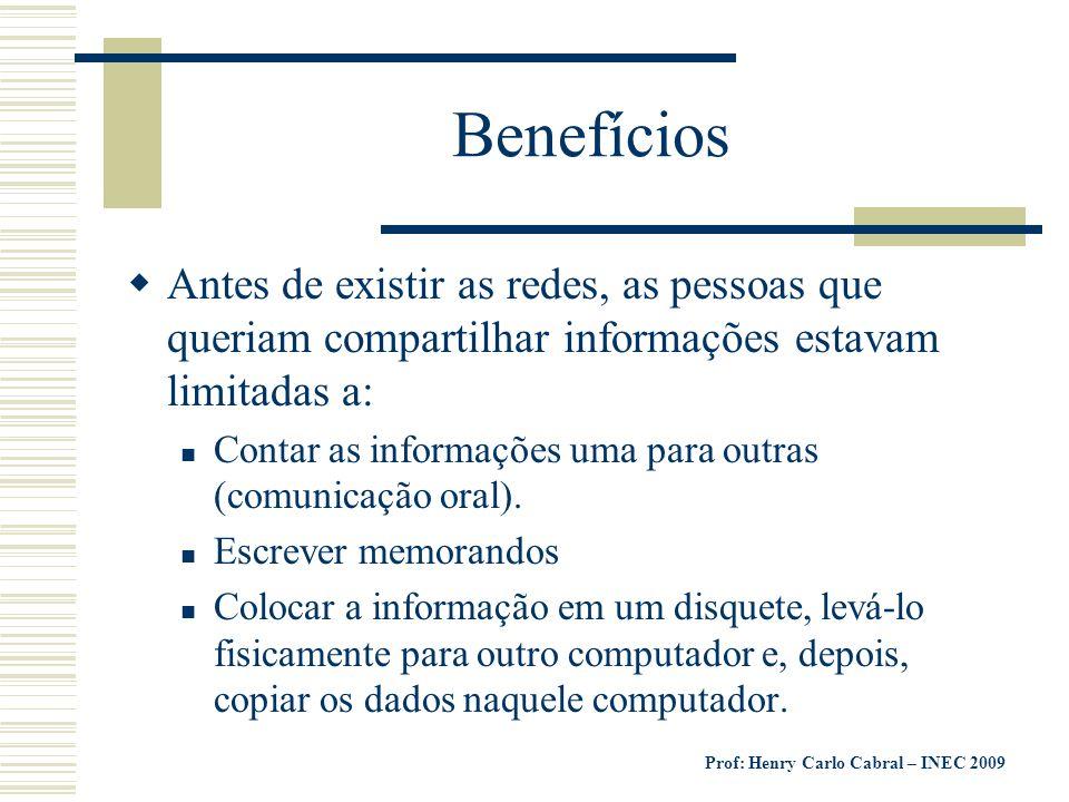 Prof: Henry Carlo Cabral – INEC 2009 Benefícios Antes de existir as redes, as pessoas que queriam compartilhar informações estavam limitadas a: Contar