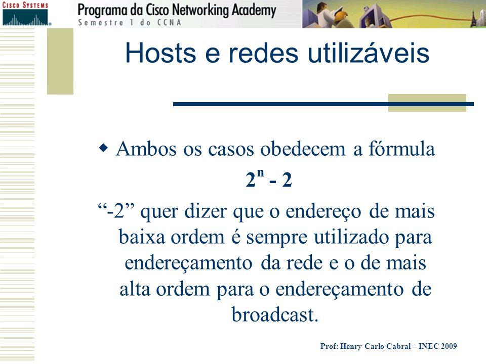 Prof: Henry Carlo Cabral – INEC 2009 Hosts e redes utilizáveis Ambos os casos obedecem a fórmula 2 n - 2 -2 quer dizer que o endereço de mais baixa or