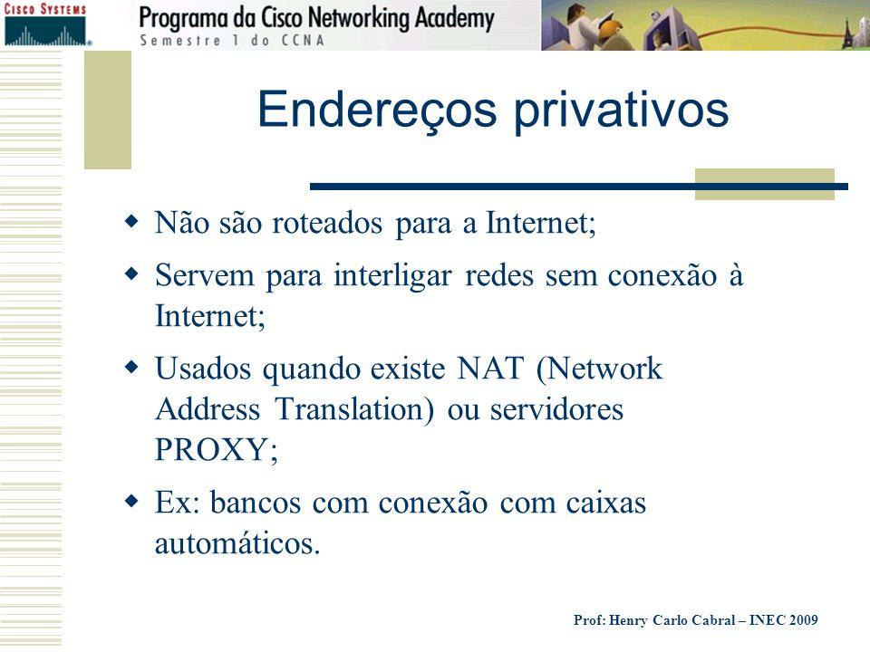 Prof: Henry Carlo Cabral – INEC 2009 Endereços privativos Não são roteados para a Internet; Servem para interligar redes sem conexão à Internet; Usado