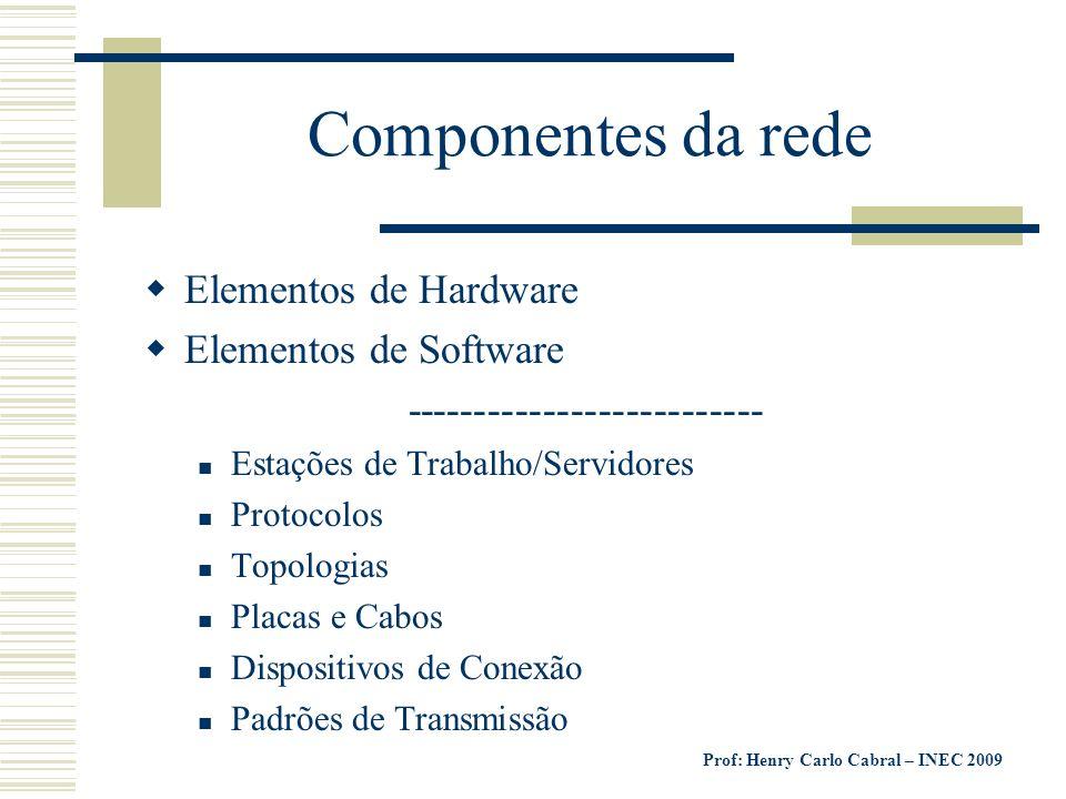 Prof: Henry Carlo Cabral – INEC 2009 Componentes da rede Elementos de Hardware Elementos de Software -------------------------- Estações de Trabalho/S