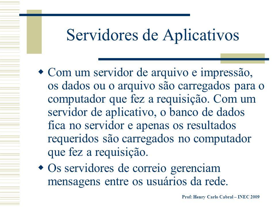 Prof: Henry Carlo Cabral – INEC 2009 Servidores de Aplicativos Com um servidor de arquivo e impressão, os dados ou o arquivo são carregados para o com