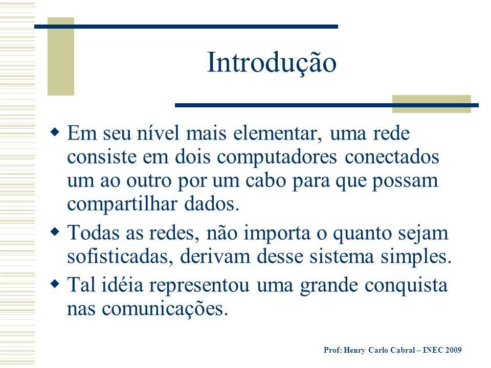Prof: Henry Carlo Cabral – INEC 2009 Topologias de Rede Topologias de rede define a forma como as estações (Computadores) estão fisicamente distribuída A topologia física é a descrição da rota utilizada pelos cabos da rede para interligar os nós.