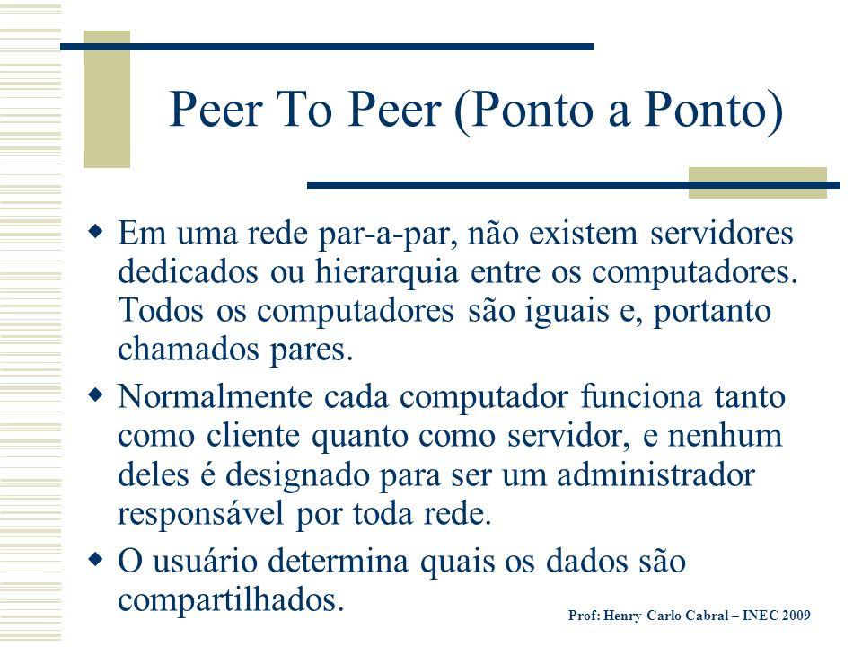 Prof: Henry Carlo Cabral – INEC 2009 Peer To Peer (Ponto a Ponto) Em uma rede par-a-par, não existem servidores dedicados ou hierarquia entre os compu