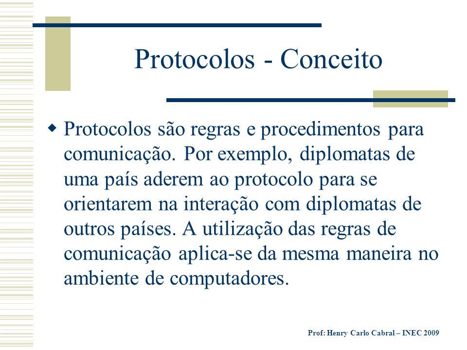 Prof: Henry Carlo Cabral – INEC 2009 Protocolos - Conceito Protocolos são regras e procedimentos para comunicação. Por exemplo, diplomatas de uma país