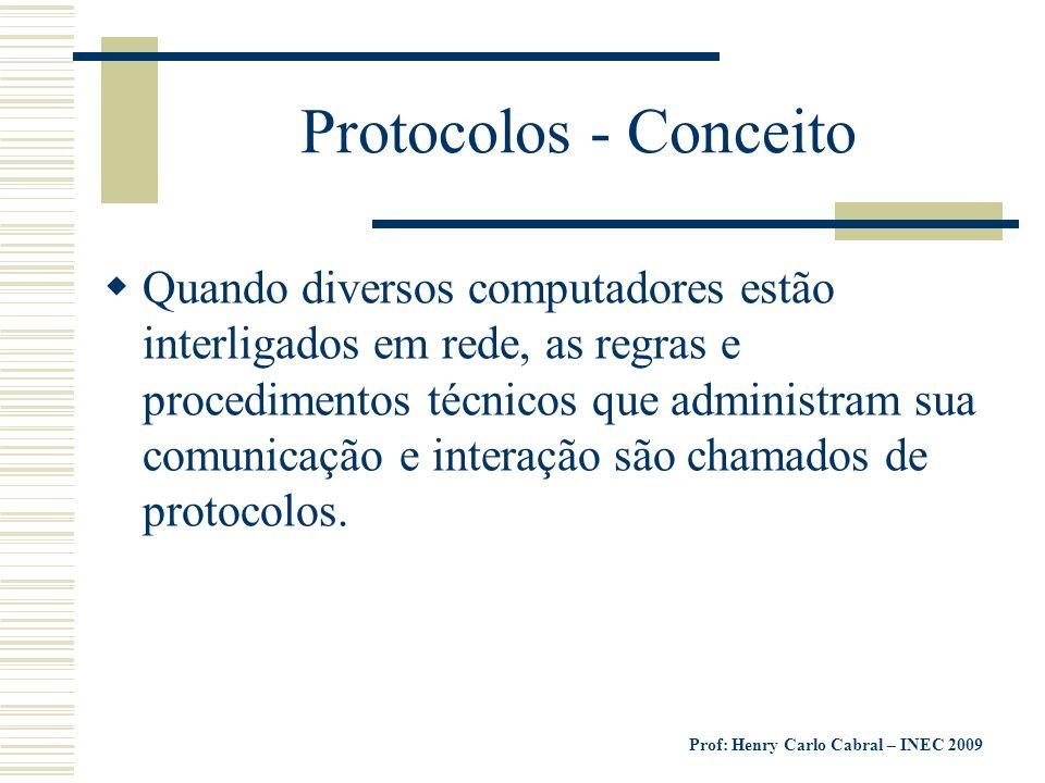 Prof: Henry Carlo Cabral – INEC 2009 Protocolos - Conceito Quando diversos computadores estão interligados em rede, as regras e procedimentos técnicos