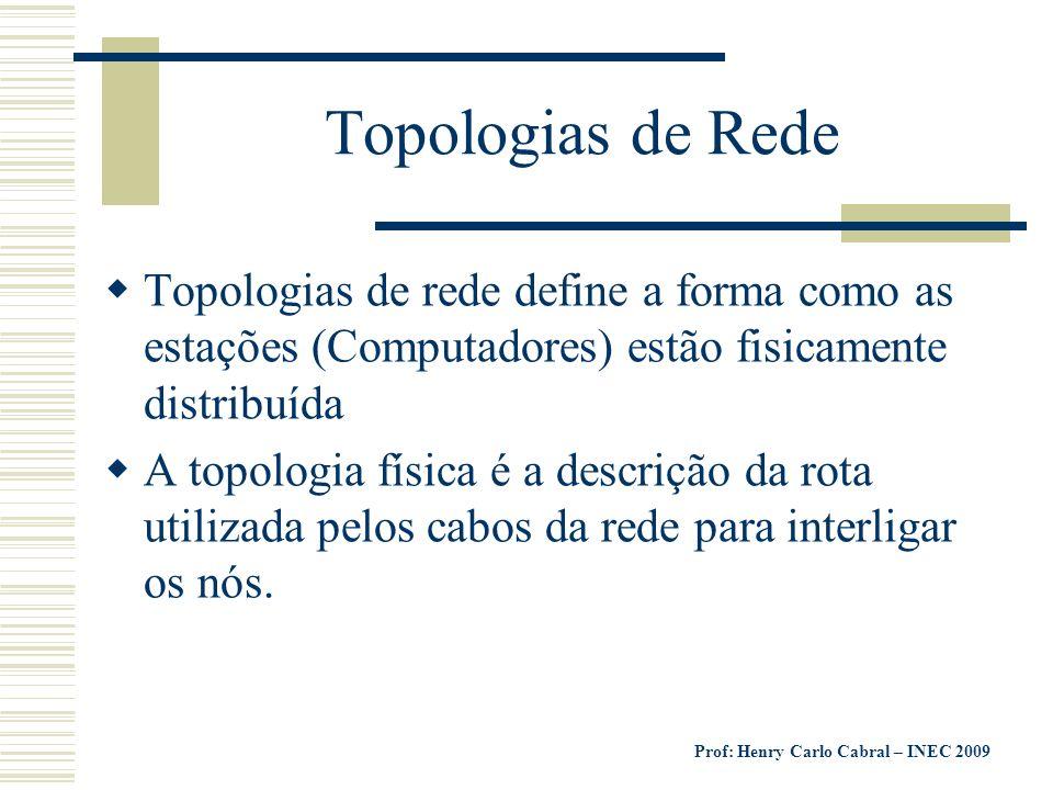 Prof: Henry Carlo Cabral – INEC 2009 Topologias de Rede Topologias de rede define a forma como as estações (Computadores) estão fisicamente distribuíd
