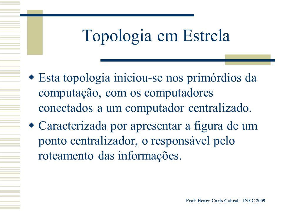 Prof: Henry Carlo Cabral – INEC 2009 Topologia em Estrela Esta topologia iniciou-se nos primórdios da computação, com os computadores conectados a um