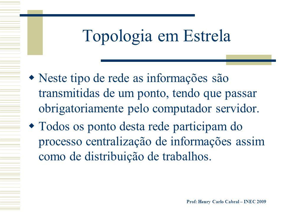Prof: Henry Carlo Cabral – INEC 2009 Topologia em Estrela Neste tipo de rede as informações são transmitidas de um ponto, tendo que passar obrigatoria