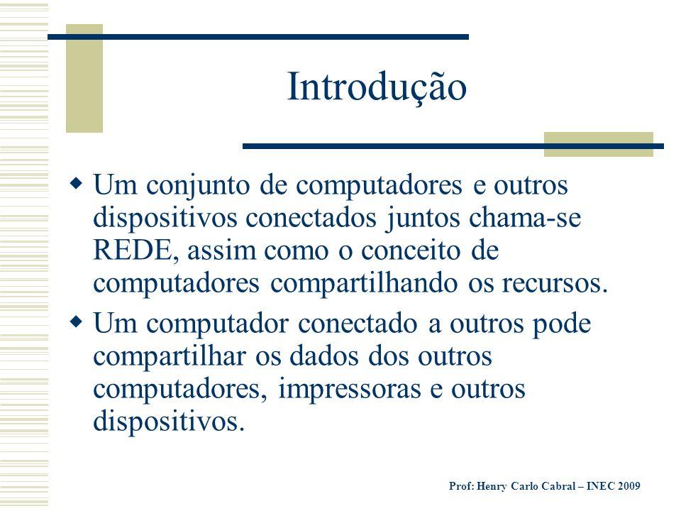 Prof: Henry Carlo Cabral – INEC 2009 Os computadores que fazem parte de uma rede podem compartilhar: Dados Mensagens Gráficos Impressoras Aparelhos de fax Modems Outros recursos de Hardware