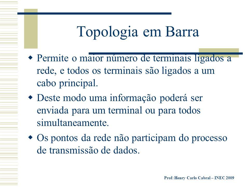 Prof: Henry Carlo Cabral – INEC 2009 Topologia em Barra Permite o maior número de terminais ligados a rede, e todos os terminais são ligados a um cabo