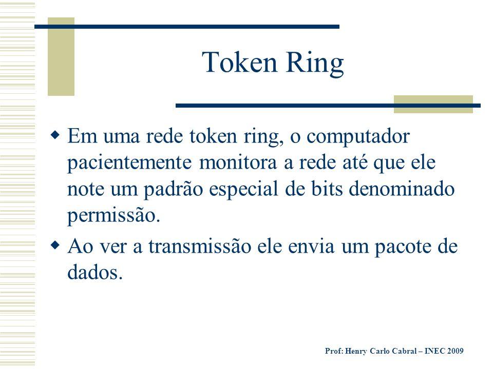 Prof: Henry Carlo Cabral – INEC 2009 Token Ring Em uma rede token ring, o computador pacientemente monitora a rede até que ele note um padrão especial