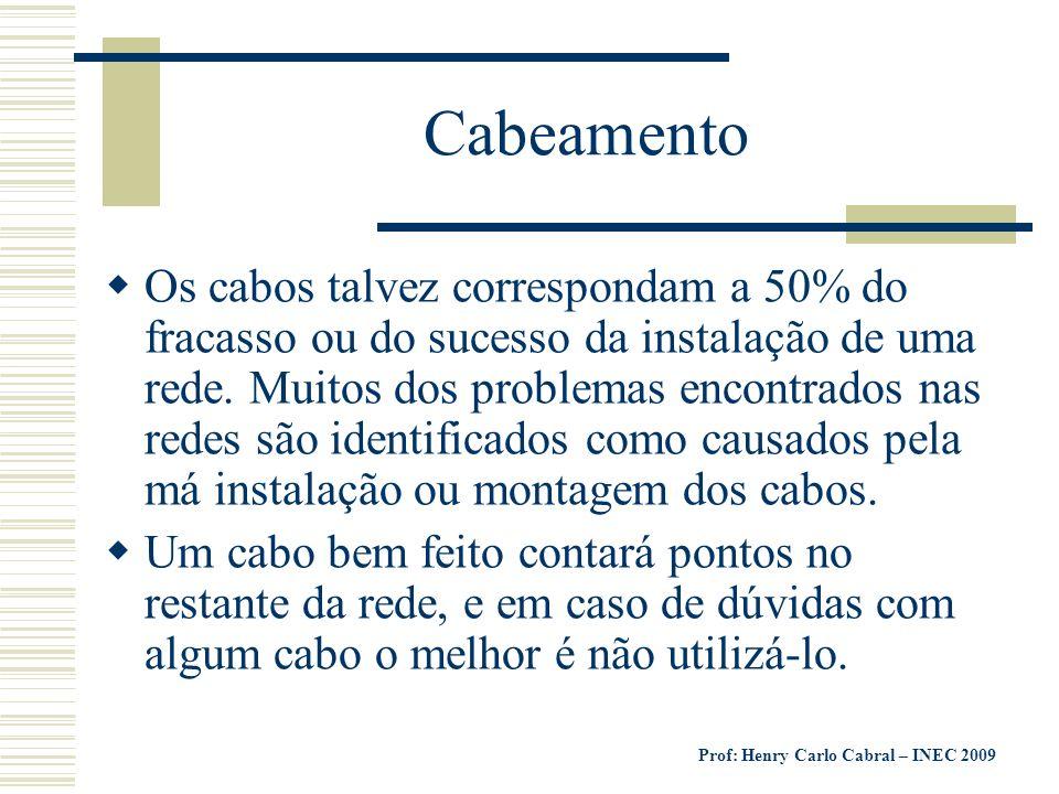 Prof: Henry Carlo Cabral – INEC 2009 Cabeamento Os cabos talvez correspondam a 50% do fracasso ou do sucesso da instalação de uma rede. Muitos dos pro