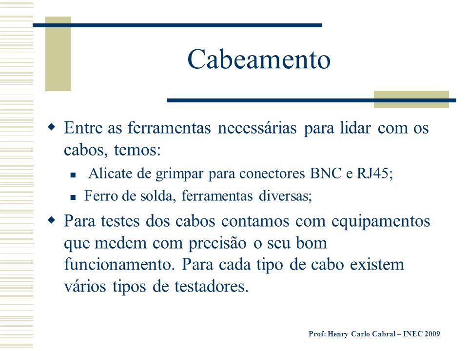 Prof: Henry Carlo Cabral – INEC 2009 Cabeamento Entre as ferramentas necessárias para lidar com os cabos, temos: Alicate de grimpar para conectores BN