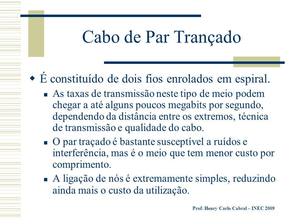 Prof: Henry Carlo Cabral – INEC 2009 Cabo de Par Trançado É constituído de dois fios enrolados em espiral. As taxas de transmissão neste tipo de meio
