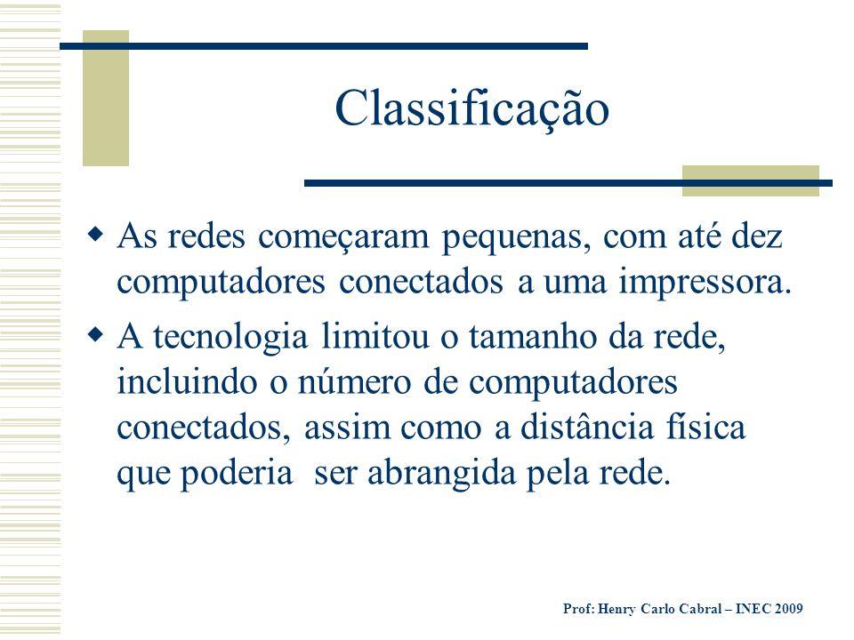 Prof: Henry Carlo Cabral – INEC 2009 Classificação Exemplo: no início dos anos 80, o método mais comum de cabeamento possibilitaria cerca de 30 usuários em uma extensão máxima de cabo de pouco mais de 180 metros.