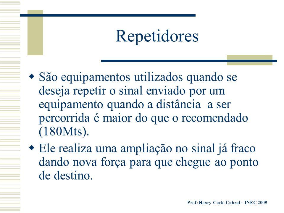 Prof: Henry Carlo Cabral – INEC 2009 Repetidores São equipamentos utilizados quando se deseja repetir o sinal enviado por um equipamento quando a dist