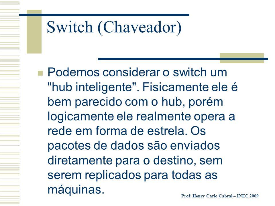 Prof: Henry Carlo Cabral – INEC 2009 Switch (Chaveador) n Podemos considerar o switch um