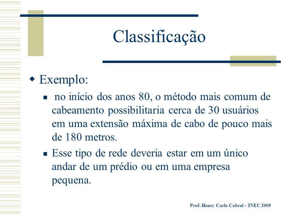 Prof: Henry Carlo Cabral – INEC 2009 Classificação Exemplo: no início dos anos 80, o método mais comum de cabeamento possibilitaria cerca de 30 usuári