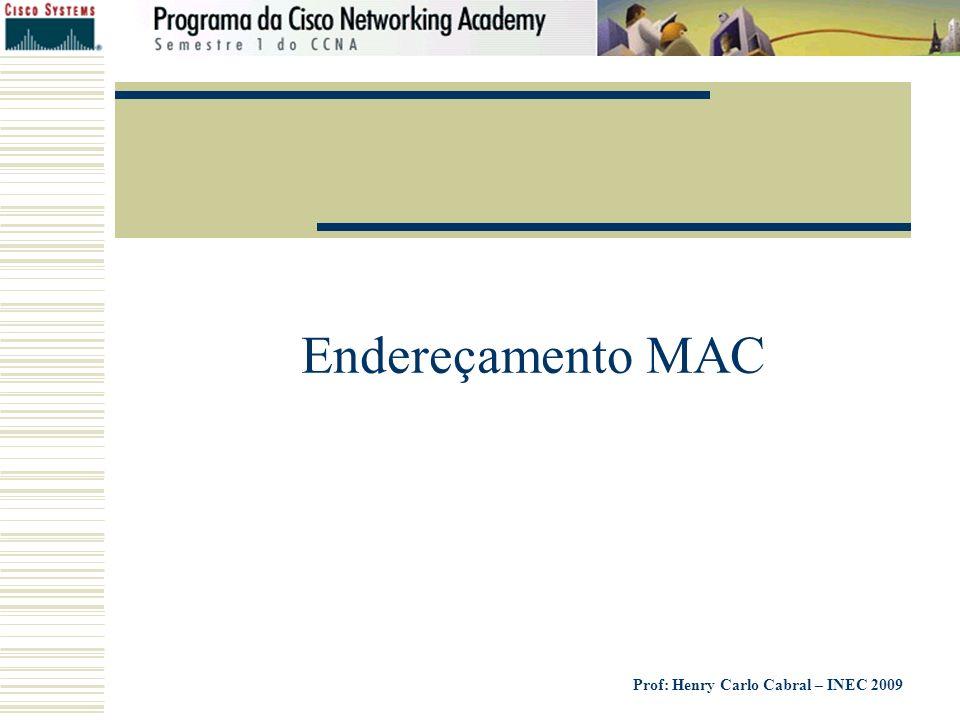 Prof: Henry Carlo Cabral – INEC 2009 Endereçamento MAC