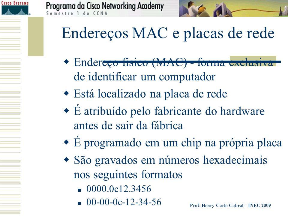 Prof: Henry Carlo Cabral – INEC 2009 Endereços MAC e placas de rede Endereço físico (MAC) - forma exclusiva de identificar um computador Está localiza