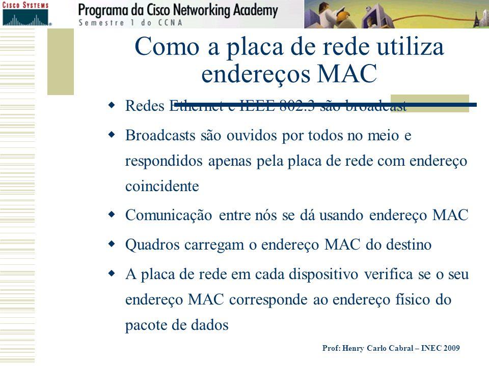 Prof: Henry Carlo Cabral – INEC 2009 Como a placa de rede utiliza endereços MAC Redes Ethernet e IEEE 802.3 são broadcast Broadcasts são ouvidos por t