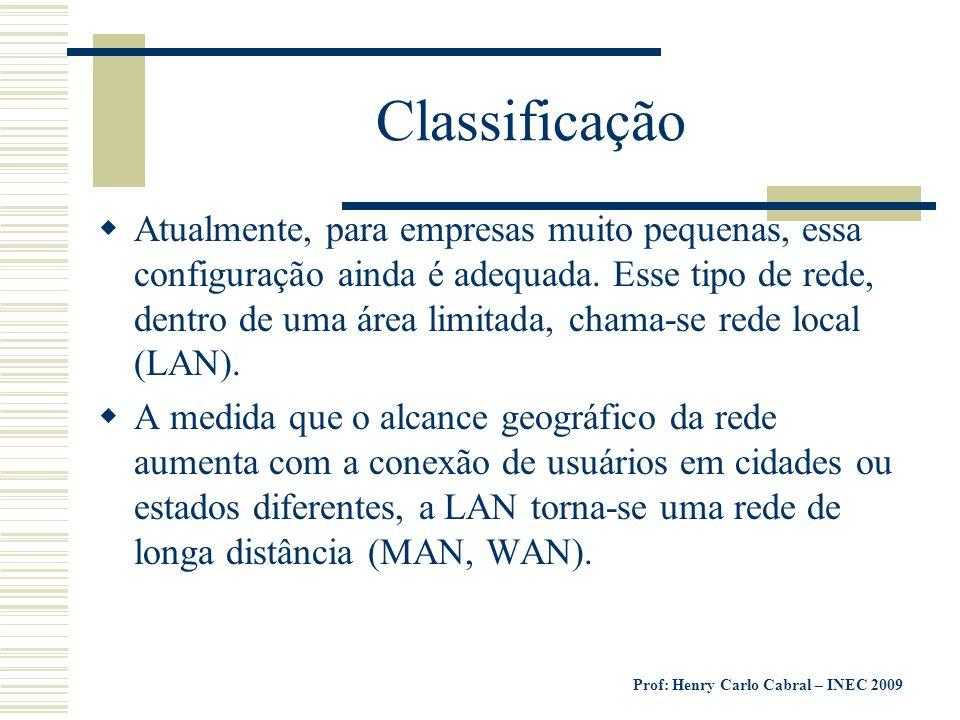 Prof: Henry Carlo Cabral – INEC 2009 Podemos então classificar as redes locais em três tipos: LAN - Local Area Network (Abrangência no espaço físico de um ou mais prédios).