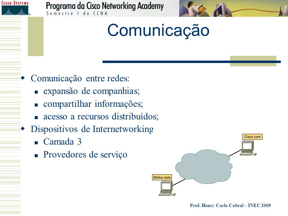 Prof: Henry Carlo Cabral – INEC 2009 Comunicação Comunicação entre redes: expansão de companhias; compartilhar informações; acesso a recursos distribu