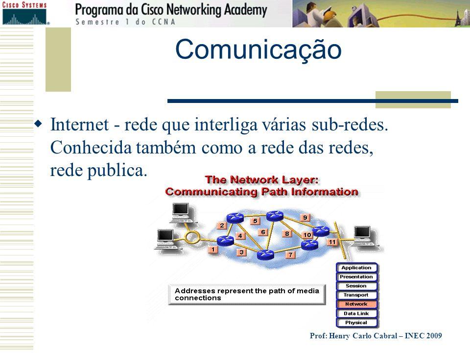 Prof: Henry Carlo Cabral – INEC 2009 Comunicação Internet - rede que interliga várias sub-redes. Conhecida também como a rede das redes, rede publica.