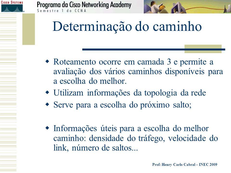 Prof: Henry Carlo Cabral – INEC 2009 Determinação do caminho Roteamento ocorre em camada 3 e permite a avaliação dos vários caminhos disponíveis para