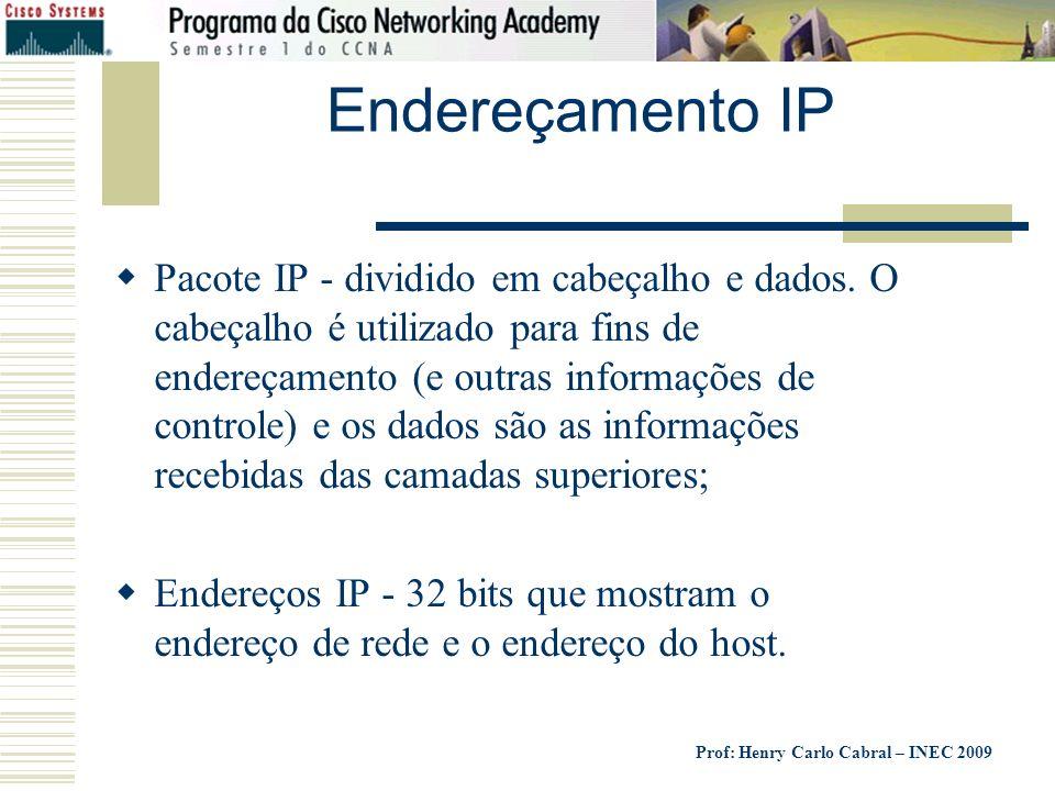 Prof: Henry Carlo Cabral – INEC 2009 Endereçamento IP Pacote IP - dividido em cabeçalho e dados. O cabeçalho é utilizado para fins de endereçamento (e