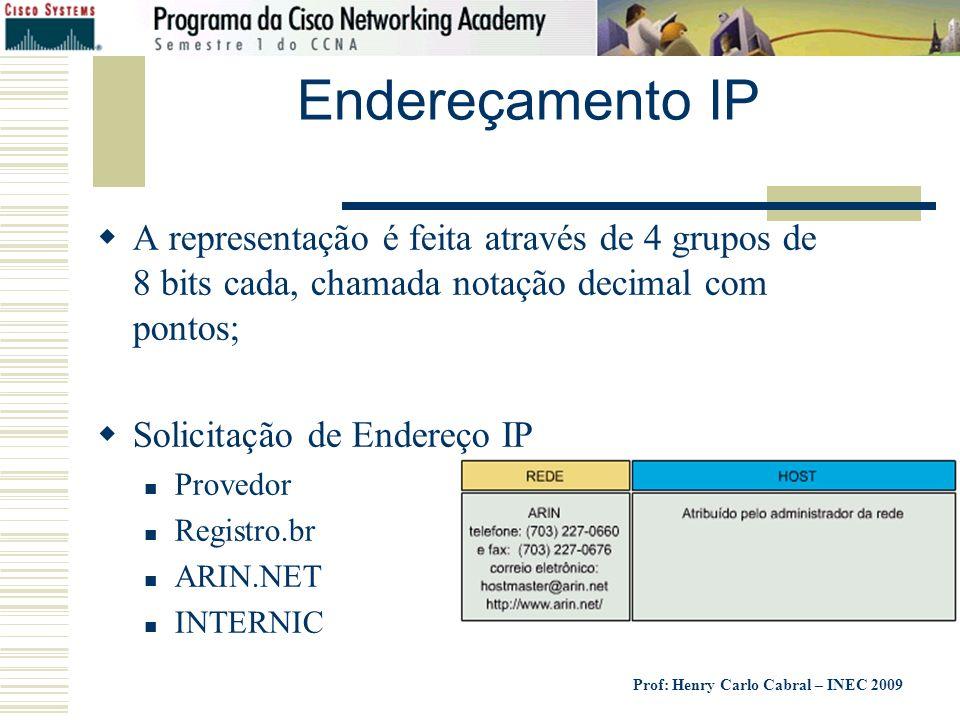 Prof: Henry Carlo Cabral – INEC 2009 Endereçamento IP A representação é feita através de 4 grupos de 8 bits cada, chamada notação decimal com pontos;