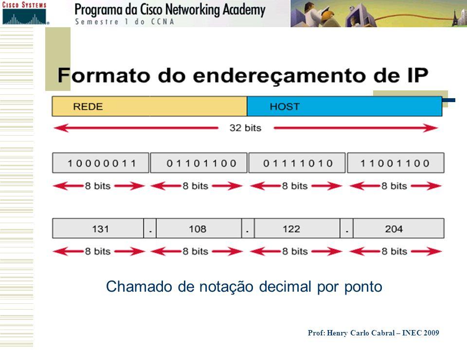 Prof: Henry Carlo Cabral – INEC 2009 Chamado de notação decimal por ponto