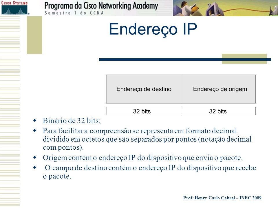 Prof: Henry Carlo Cabral – INEC 2009 Endereço IP Binário de 32 bits; Para facilitar a compreensão se representa em formato decimal dividido em octetos
