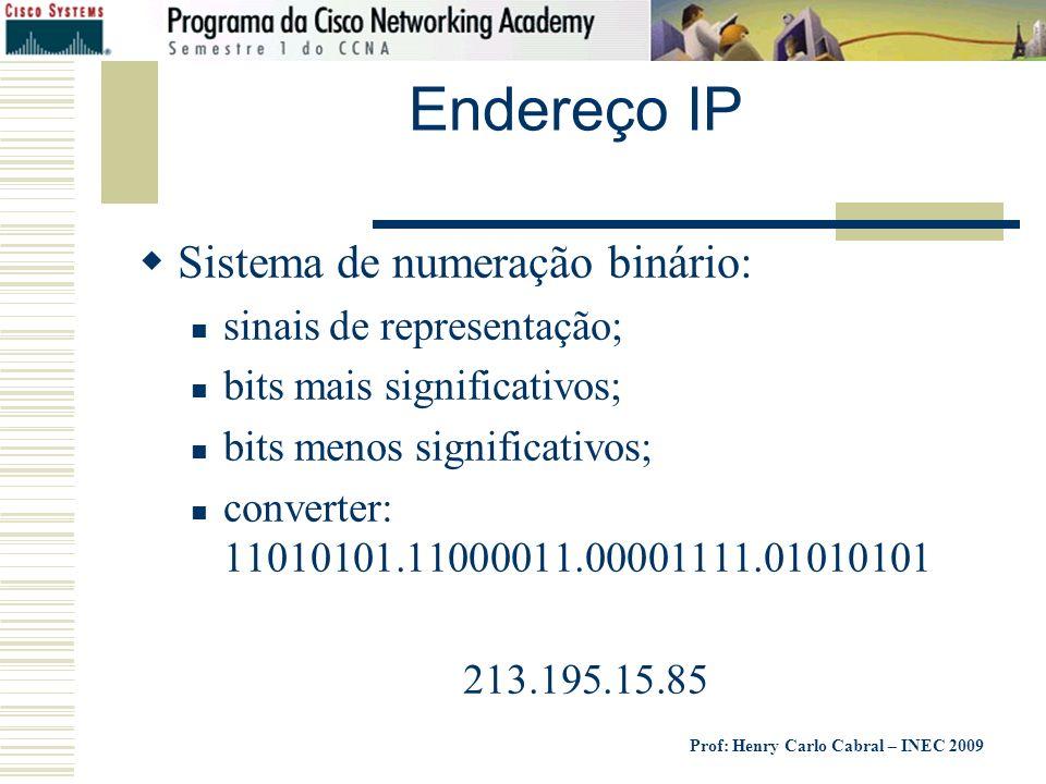 Prof: Henry Carlo Cabral – INEC 2009 Endereço IP Sistema de numeração binário: sinais de representação; bits mais significativos; bits menos significa