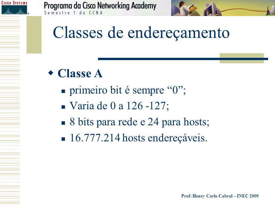 Prof: Henry Carlo Cabral – INEC 2009 Classes de endereçamento Classe A primeiro bit é sempre 0; Varia de 0 a 126 -127; 8 bits para rede e 24 para host