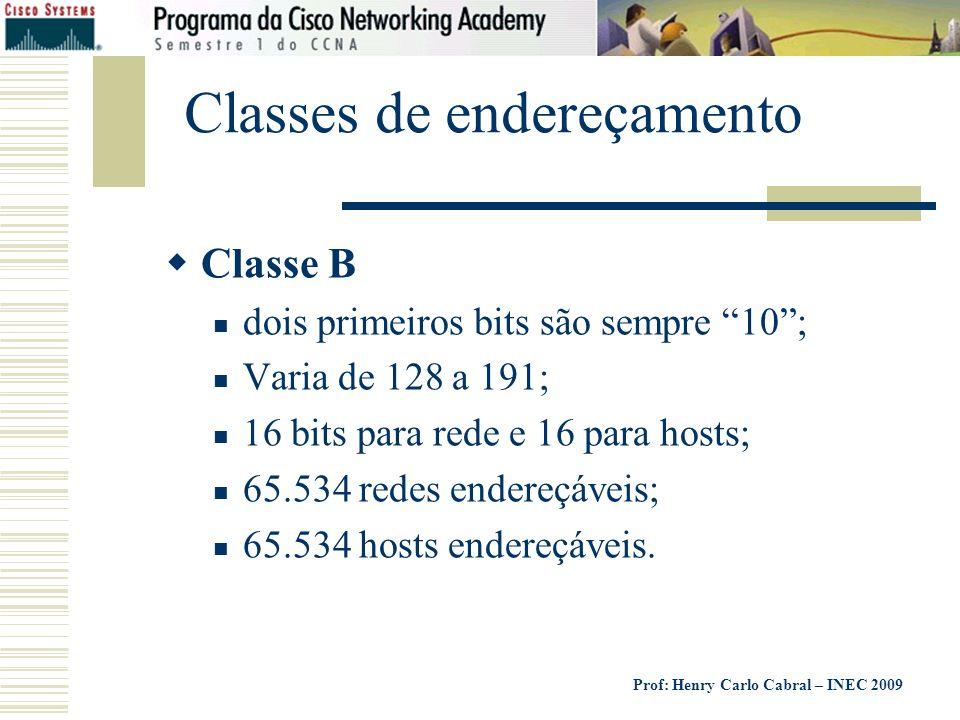 Prof: Henry Carlo Cabral – INEC 2009 Classes de endereçamento Classe B dois primeiros bits são sempre 10; Varia de 128 a 191; 16 bits para rede e 16 p