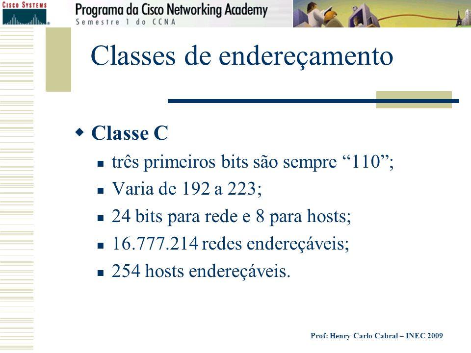 Prof: Henry Carlo Cabral – INEC 2009 Classes de endereçamento Classe C três primeiros bits são sempre 110; Varia de 192 a 223; 24 bits para rede e 8 p