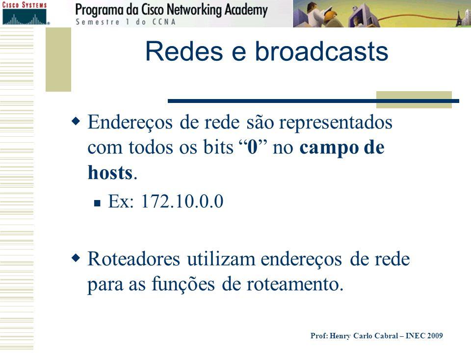 Prof: Henry Carlo Cabral – INEC 2009 Redes e broadcasts Endereços de rede são representados com todos os bits 0 no campo de hosts. Ex: 172.10.0.0 Rote