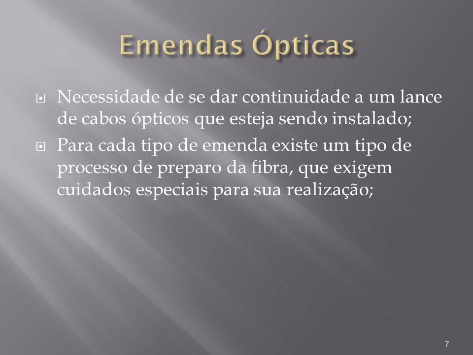 Necessidade de se dar continuidade a um lance de cabos ópticos que esteja sendo instalado; Para cada tipo de emenda existe um tipo de processo de preparo da fibra, que exigem cuidados especiais para sua realização; 7