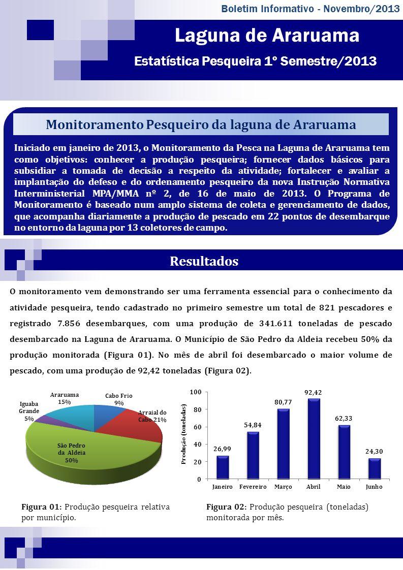 Laguna de Araruama Estatística Pesqueira 1º Semestre/2013 Boletim Informativo - Novembro/2013 Iniciado em janeiro de 2013, o Monitoramento da Pesca na