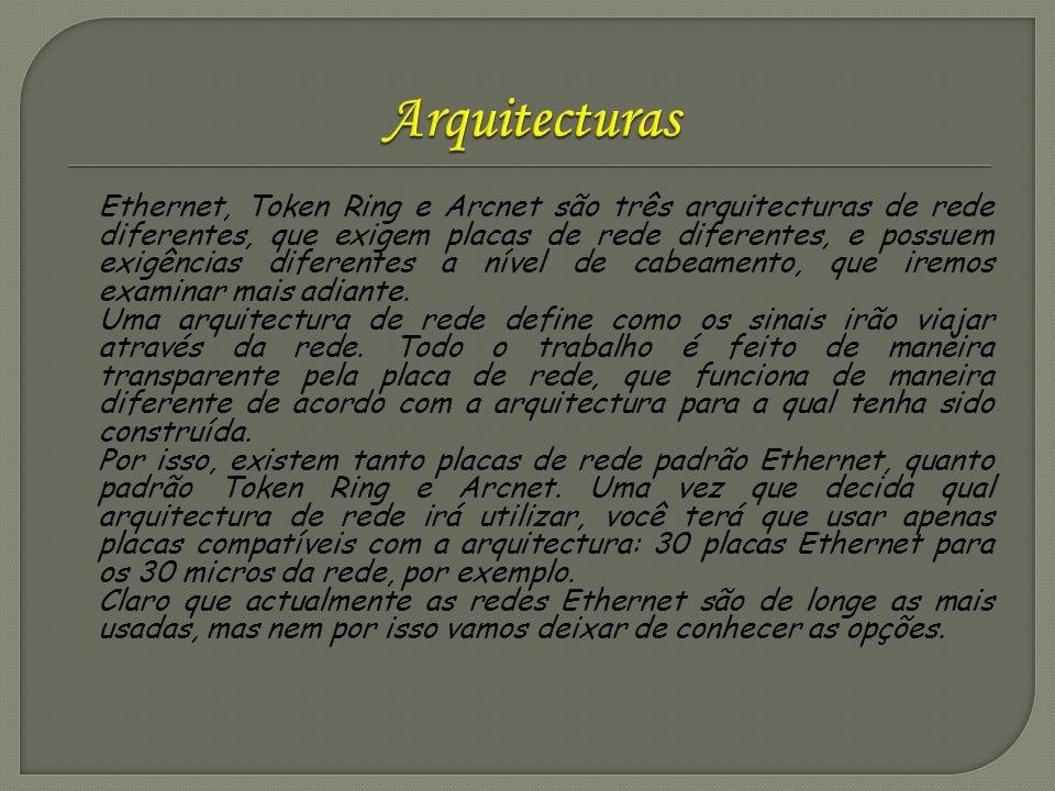 Ethernet, Token Ring e Arcnet são três arquitecturas de rede diferentes, que exigem placas de rede diferentes, e possuem exigências diferentes a nível