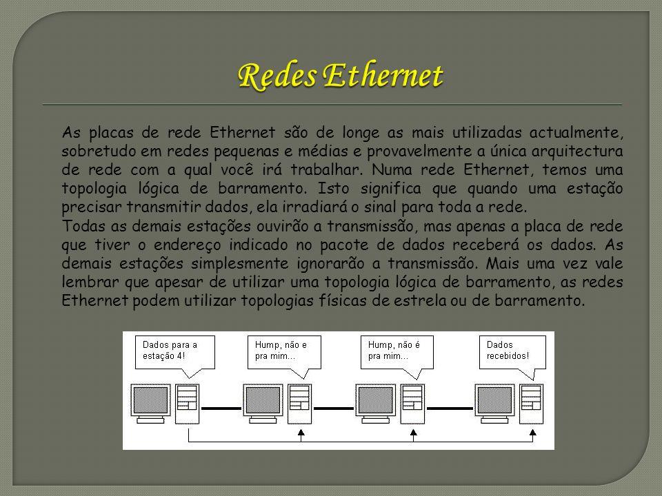 As placas de rede Ethernet são de longe as mais utilizadas actualmente, sobretudo em redes pequenas e médias e provavelmente a única arquitectura de r