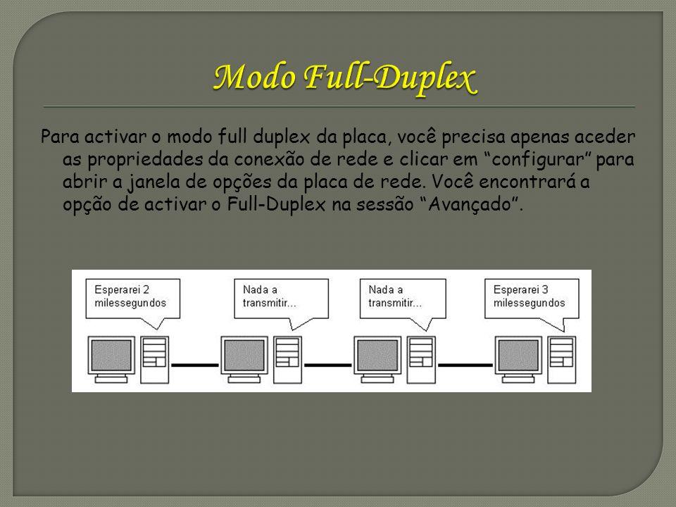 Para activar o modo full duplex da placa, você precisa apenas aceder as propriedades da conexão de rede e clicar em configurar para abrir a janela de