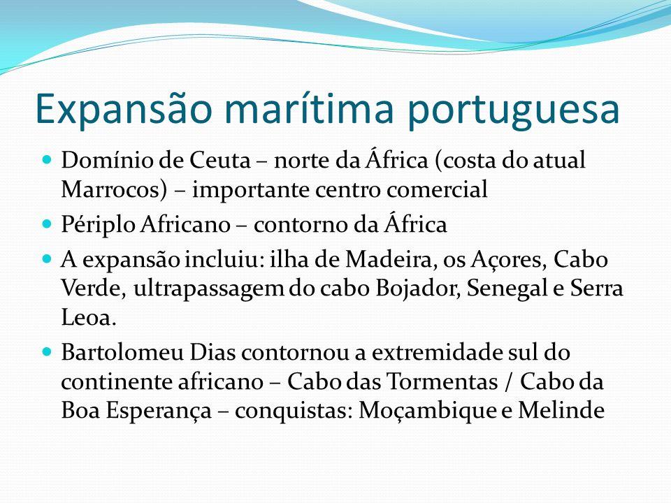 Expansão marítima portuguesa Domínio de Ceuta – norte da África (costa do atual Marrocos) – importante centro comercial Périplo Africano – contorno da