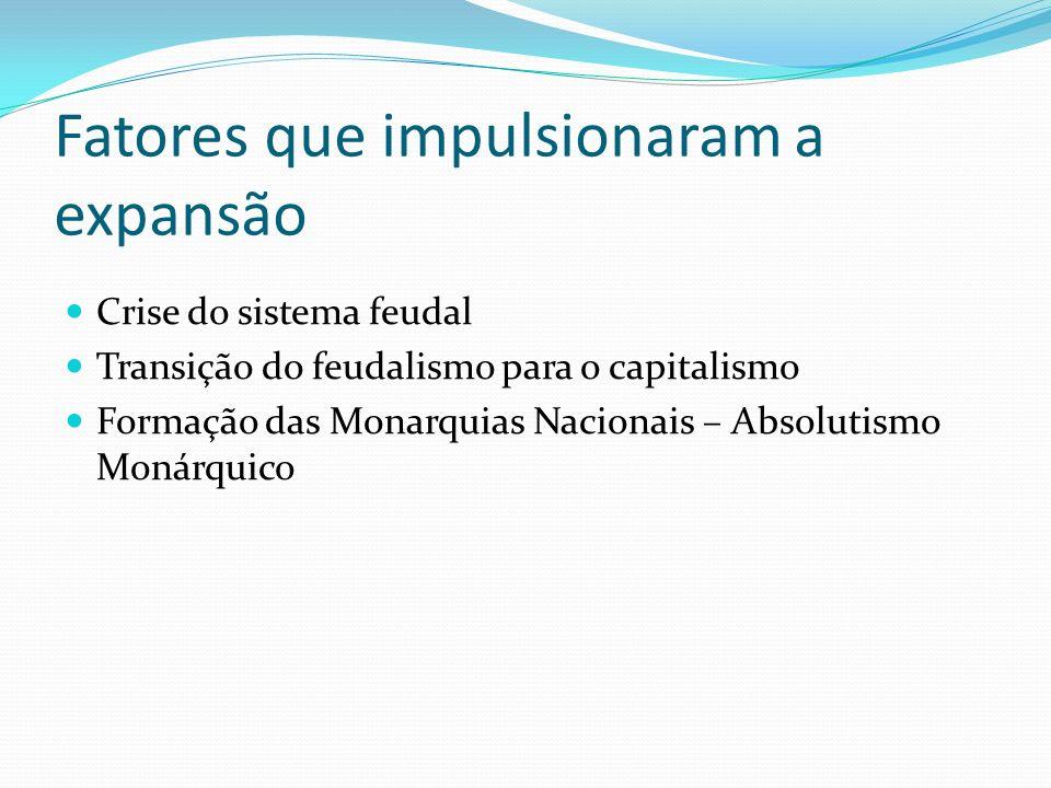 Fatores que impulsionaram a expansão Crise do sistema feudal Transição do feudalismo para o capitalismo Formação das Monarquias Nacionais – Absolutism